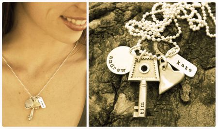 Key to my heart, custom, hand-stamped jewelry