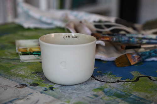 Q is for quiet squam tea cup