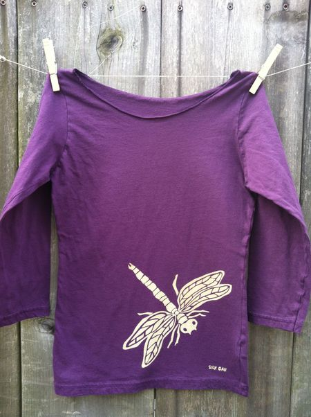 Women's 3_4 sleeve eggplant dragonfly
