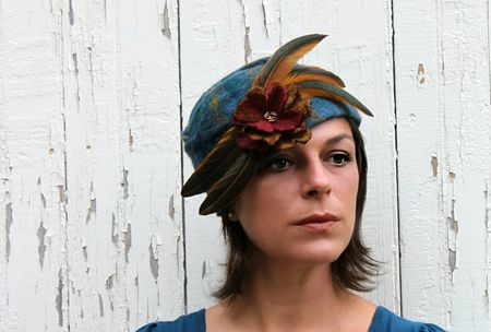Swan&Stone nuno felted blue turban cloche gold feathers