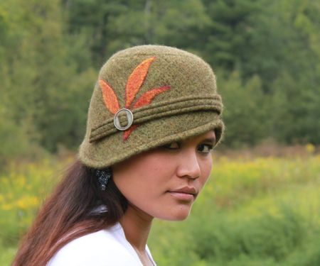 Swan and stone soft wool felt sage pumpkin cloche