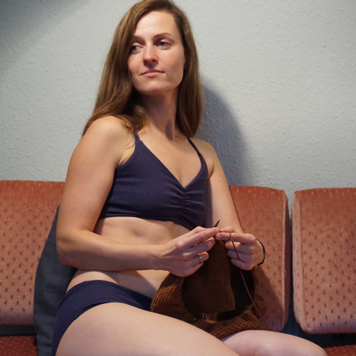 Knitting in underwear